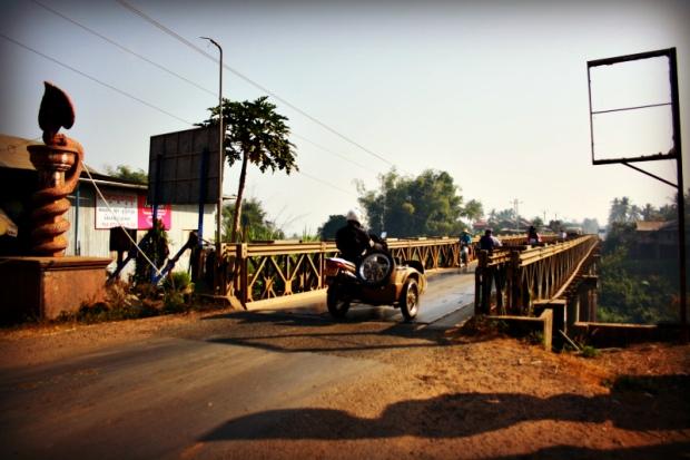One-way bridge along River Mekong