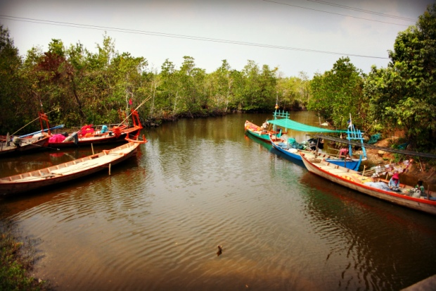 Typical Cambodian river boats