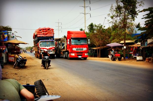 Traffic in rural Cambodia