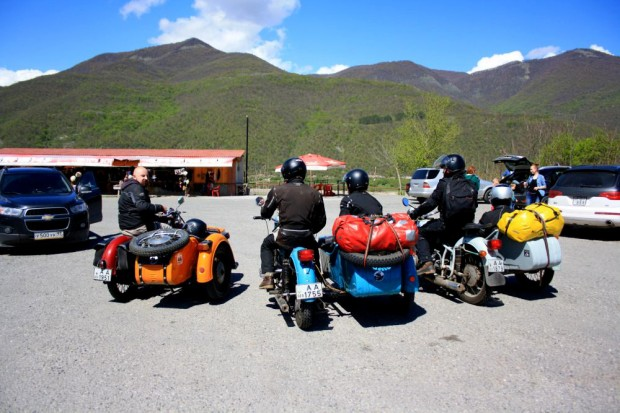 Parking lot at the monastry Ananuri