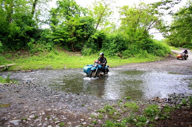 Thomas crossing the creek ...