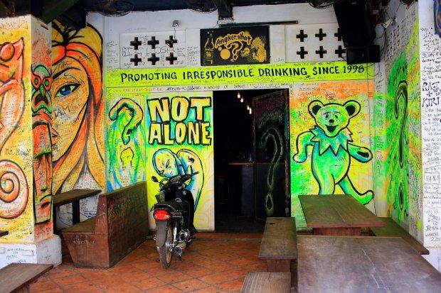 Promoting irresponsible drinking - bar in Siem Reap