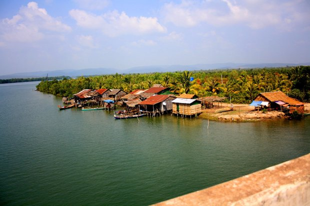 House boats on a river in Cambodia